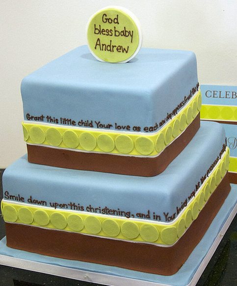 Modern boy baptism cakes in blue, green and brown.PNG