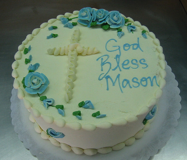 Simple Round Cake Images : Pin Round Baptism Cakes For Boys With Cross Cake Decor And ...