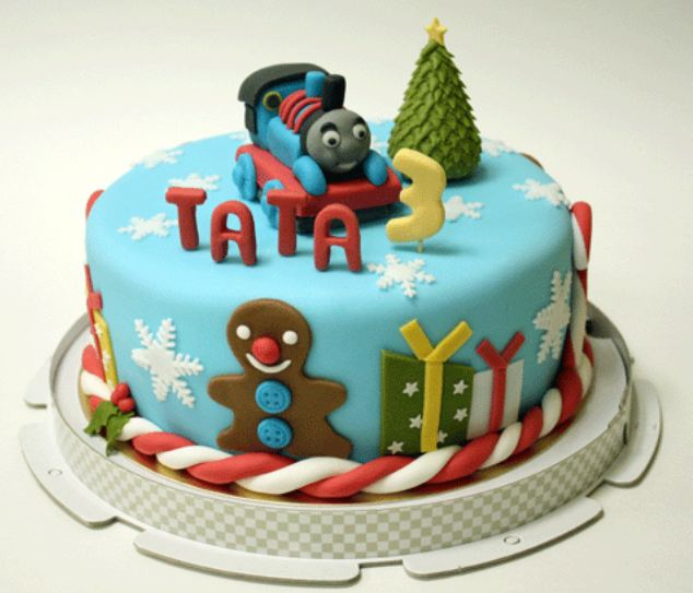 Thomas The Train Birthday Cake For 3 Year Old With Christmas ThemeJPG