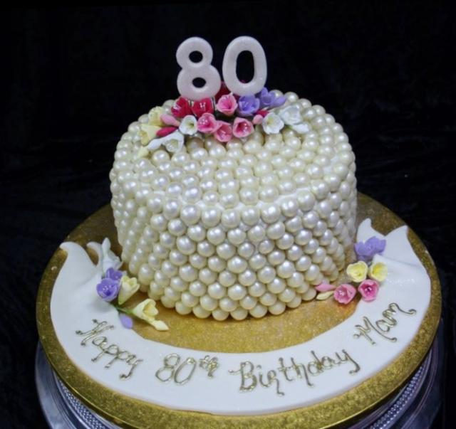 Pearl Crusted 80th Birthday Cake With Gold Bottom Jpg