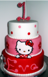1st Baby Hello Kitty cakes with three tiers in red, pink and white.PNG