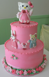 Two tiers hello kitty cakes with hello kitty topper cake in pink