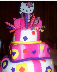 Colorful Hello Kitty cake with three tiers and Hello Kitty topper.PNG