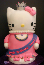 Fancy Hello Kitty cakes with Kitty dressing like a queen.PNG