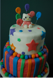 Colorful Hello Kitty Cake in two tiers with full of stars and beats.PNG