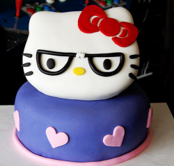 Funny hello kitty cake with hello kitty wearing glasses.PNG