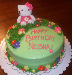 Grassy green Hello Kitty birthday cakes pictures.PNG
