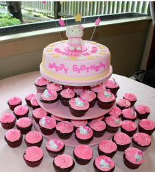 Hello Kitty cakes with full of cupcakes in all pink.PNG