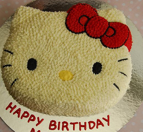 Hello Kitty face birthday cake in creamy white.PNG