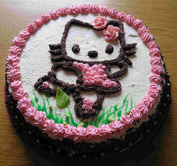 Homemade hello kitty chocolate cake.PNG