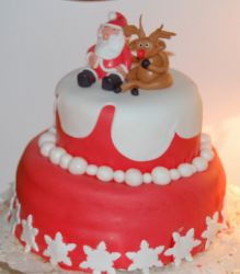 Two tier red Christmas cake with Santa and rodulf as cake toppers.PNG