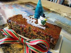 Christmas fruit cake with snowman.JPG