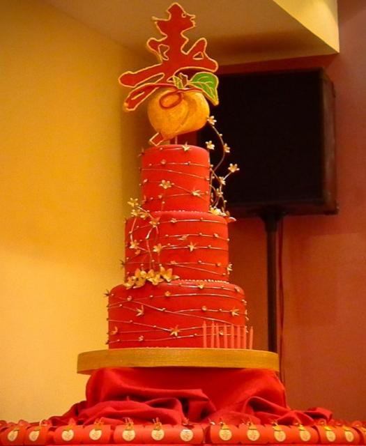 3 tier red Chinese theme wedding cake with Chinese character on top.JPG