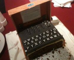 Chocolate code-pad cake with QWERTY keyboard.JPG