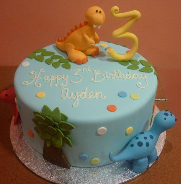 Design For 3 Yrs Old Boy Birthday Cake Powder Blue Round Dinosaur Theme