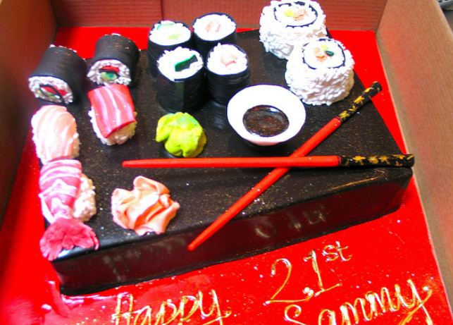 Sushi plate 21st birthday cake with chopsticks, wasabi and soy sauce.JPG