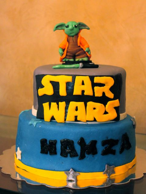 Two tier Star Wars Yoda birthday cake.JPG