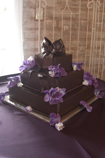3 Tier Chocolate Cake With Purple Flowers Jpg 2 Comments