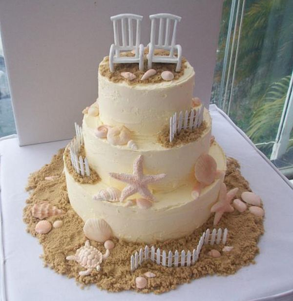 3 tier light yellow round beach-theme wedding cake with sand, sea life and beach chairs on top.JPG