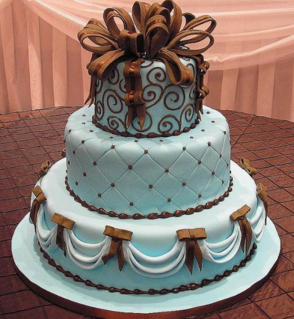 3 Tier Powder Blue Round Wedding Cake With Brown AccentsJPG 1 Comment