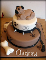 Pug dog birthday cake in brown.PNG