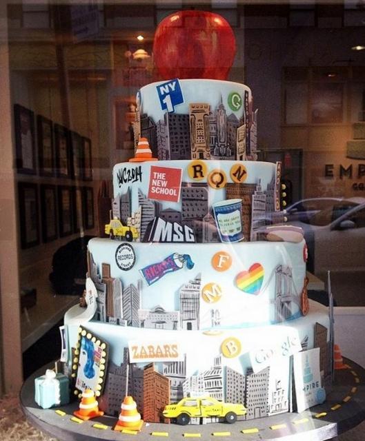 4 Tier Manhattan NYC Theme Cake With Big Apple On Top.JPG