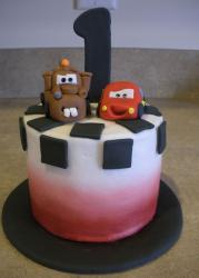 Cars theme birthday cake for one year old with Lightning McQueen and Mater.JPG