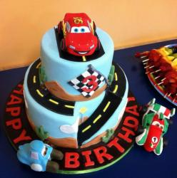 2 tier Cars theme birthday cake for 3 year-old.JPG