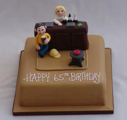 Bar theme 65th chocolate birthday cake.JPG