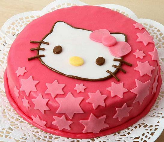 Red Round Hello Kitty With Star Cake Decor Png 2 Comments