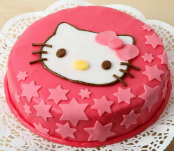 Red round hello kitty with star cake decor.PNG