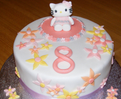 Round hello kitty cake with decor floral decor.PNG