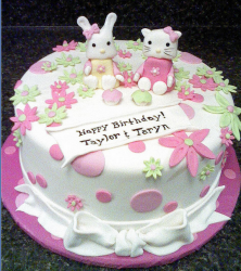 Hello Kitty twins cakes in white and pink cake decors.PNG