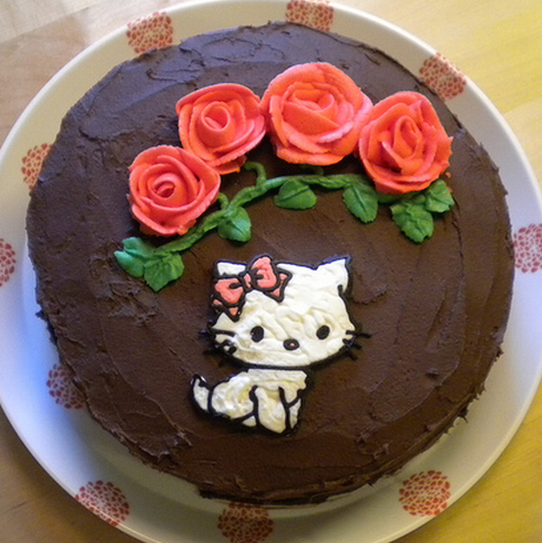 Homemade chocolate hello kitty cake with hello kitty cake decors.PNG