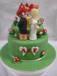 Super Mario theme green wedding cake in 2 tiers.JPG