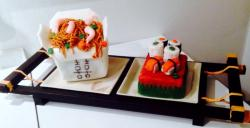 Asian Food theme cake with Chinese Takeout Box & Sushi.JPG