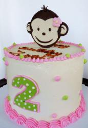 Monkey theme cake for 2 year-old girl.JPG