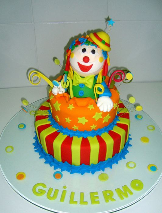Two tier detailed clown birthday cake.JPG