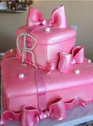 Two tier pink gift box cake with pearl monogram.JPG