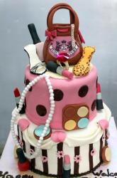 Two tier birthcake cake for a woman with handbags, lipsticks and shoes on top.JPG