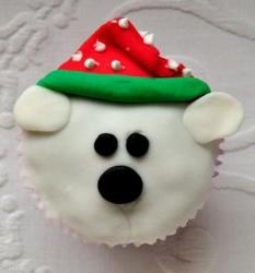 Polar Bear with Santa hat cupcake.JPG