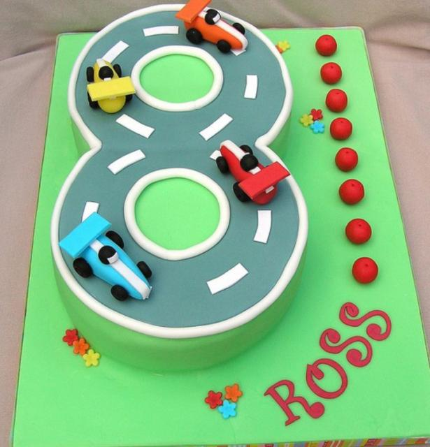 8Th Birthday Cake Ideas http://www.cakepicturegallery.com/v/birthday-cakes/Figure+8+race+track+8th+birthday+cake.JPG.html