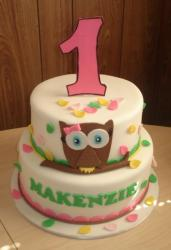 2 tier first birthday cake with owl and number one on top.JPG