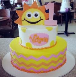 Two tier Happy Sun theme first birthday cake with pink #1 for girl.JPG