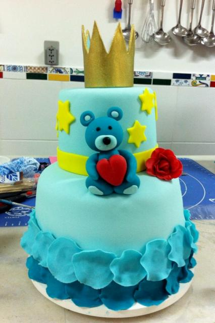 2 tier Power-blue Cake with Teddy Bear heart & Gold Crown ...