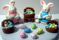 Cute bunny easter cake with easter baskets and easter eggs.PNG