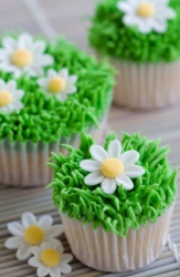 Easter cupcake pictures with cupcake looks like grass with daisy.PNG