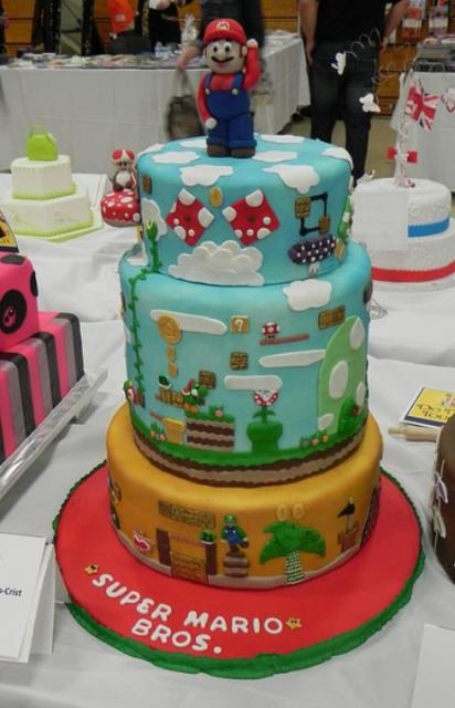 3 Tier Super Mario Cake With Super Mario On Top Jpg 1