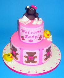 2 tier pink Baby Shower Cake with brown bear.jpg