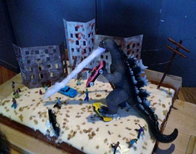 Godzilla Wrecking City Cake With Flame Breath Jpg Hi Res